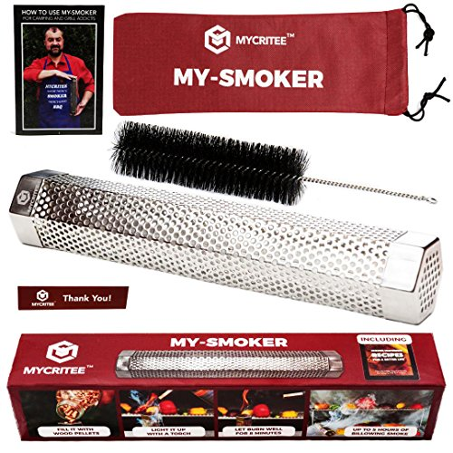 Mycritee Hexagonal Pellet Smoker Tube 12″ | Premium Stainless Steel Hot and Cold Smoking | 5 Hours of Smoke for All Grills or Smokers | Brush + Canvas Bag + eBook for Grilling and Smoking Included