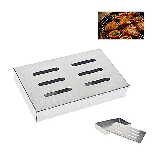 ADSRO Stainless Steel Smoke Box, BBQ Charcoal Spice Cigarette Case Bacon Box Outdoor Barbecue Tool Reusable Barbecue Accessories