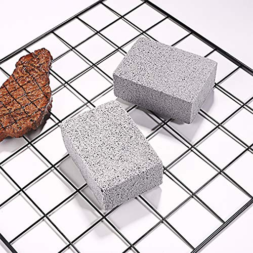 BESTONZON 2Pcs Ecological Odorless Grilling Stone Cleaner/Fine Grit,Sturdy, High Density for Cleaning Grills or Griddles Reusable De-Scaling Stones