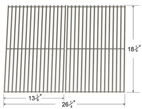 66652 Stainless Steel Cooking Grid for Char-Broil, Coleman, Kenmore, Master Forge, Thermos & Uniflame Gas Grill Models (Set of 2)