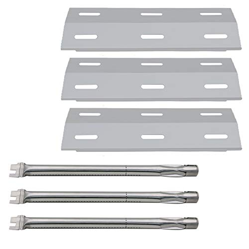 Hisencn Repair Kit Grill Burner Tube, Stainless Heat Plate Tent, Burner Cover Replacement for Ducane 3 Burner 3100, 3200, 3400, 30400040 Gas Barbecue Grill, DUCHD1, 30500048, 30500602, DUCHP1