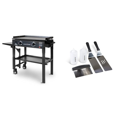 Blackstone 28 inch Outdoor Flat Top Gas Grill Griddle Station – 2-burner – Propane Fueled – Restaurant Grade – Professional Quality with Griddle Tool Kit