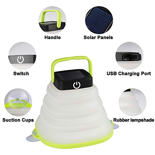 Solar Camping Lantern,LED Camping Lantern Lights Rechargeable with USB Cable,Collapsible and 3 Dimmable Modes for Outdoor Hiking Fishing Tent Garden(2 Pack)