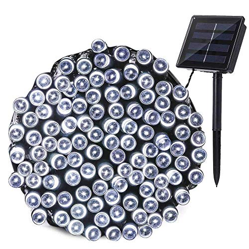 Joomer Solar String Lights 72ft 200 LED 8 Modes Solar Powered Christmas Lights Waterproof Decorative Fairy String Lights for Garden, Patio, Home, Wedding, Party, Christmas (White)