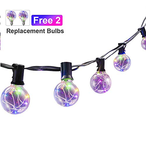 CANAGROW LED String Lights, 18Ft G40 Globe String Lights with 25 Clear LED Bulbs, Color Changing Flashing Waterproof Indoor Outdoor String Lights (RGB)
