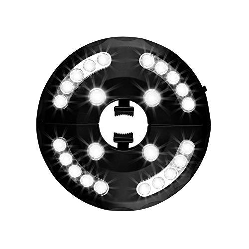 Usmascot Patio Umbrella Light Warm White 3 Brightness Modes Cordless 24 LED Lights- 4 x AA Batteries Operated, Umbrella Pole Light for Patio Umbrellas,Camping Tents or Outdoor Use (White)