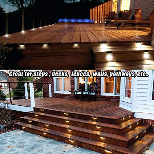 Solar Deck Lights Waterproof Led Solar Lamp Outdoor Warning Warm Light for Steps Decks Pathway Yard Stairs Fences Tent Camping 16 Pack