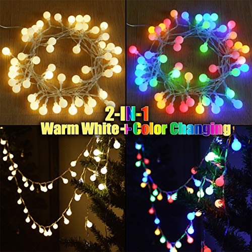 Abkshine 16.4FT 50LED Color Changing Globe Fairy Lights with Timer, Multicolored Warm White 2-in-1 Battery String Lights for Christmas Outdoor Decoration Camping Tent Bedroom Wedding
