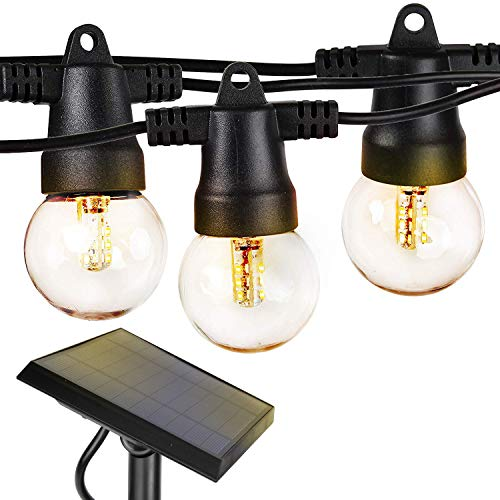 Brightech Ambience Pro – Waterproof Solar LED Outdoor String Lights – 1W Retro Edison Filament Bulbs – 27 Ft Globe Lights Create Bistro Ambience In Your Yard, Pergola – Soft White