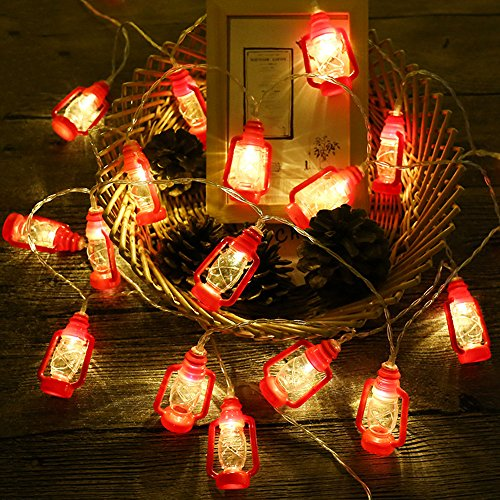 AceList 20 LED Red Lantern Mini Kerosene String Lights for Patio Garden Holiday Home Ramadan Decorations (Warm White Light)