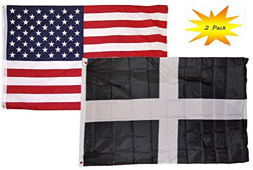 ALBATROS 3 ft x 5 ft 3×5 Set (2 Pack) USA American with Cornwall UK British Flag Banner for Home and Parades, Official Party, All Weather Indoors Outdoors