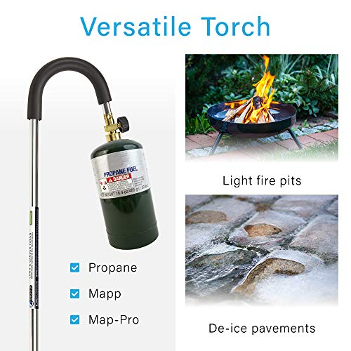 IGNIGHTER Weed Burner Torch – Use with Propane and MAPP Gas – with Trigger Start Piezo Igniter, Flame Control Valve and Slip-Resistant Handle – 35 Inches Long.