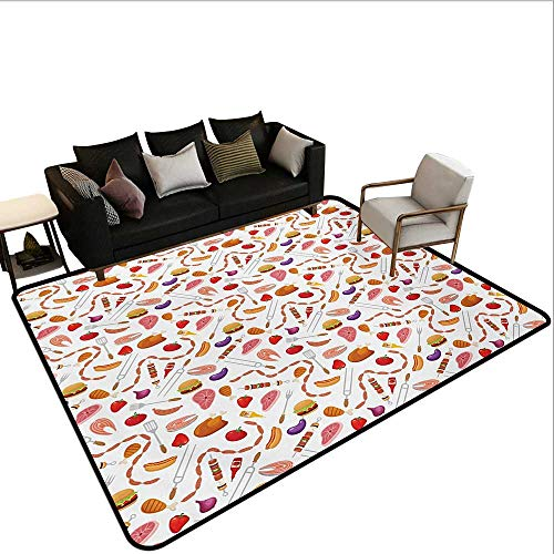 Decorative Floor mat,Grilling Themed Food Elements Hamburger Hotdog Steak and Sausage Pattern Cooking 6'6″x10′,Can be Used for Floor Decoration