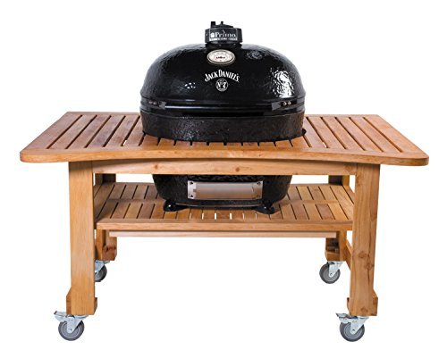 Primo Oval XL 400 Ceramic Smoker Grill On Curved Cypress Table, Jack Daniel's Edition