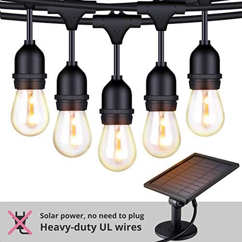 FOXLUX Solar String Lights – 48 ft LED Outdoor String Lights – Shatterproof, Waterproof Pergola Lights – 15 Hanging Sockets, Light Sensor, S14 Edison Bulbs – Decor for Patio, Backyard, Garden, Bistro