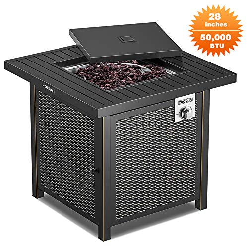 TACKLIFE Propane Fire Pit Table, Outdoor Companion, 28 Inch 50,000 BTU Auto-Ignition Outdoor Gas Fire Pit Table with Cover, CSA Certification, for Garden,Courtyard, Balcony, Terrace and Barbecue.