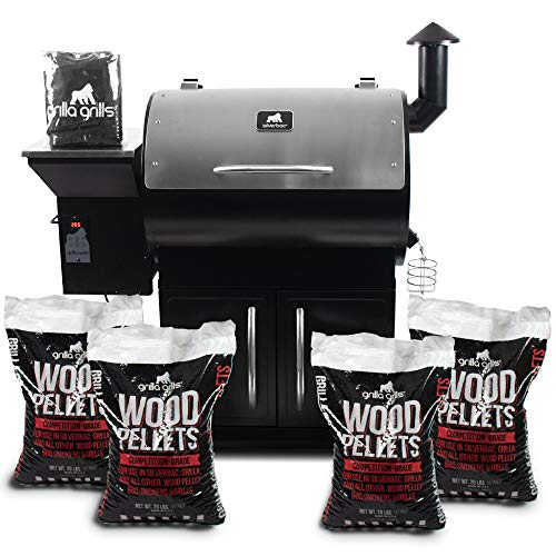 Grilla Grills – Silverbac Alpha Model Bundle | Multi Purpose Smoker and BBQ Wood Pellet Grill with Dual Mode PID Controller | Stainless Steel Construction | Up to 900 Sq. in Cooking Space
