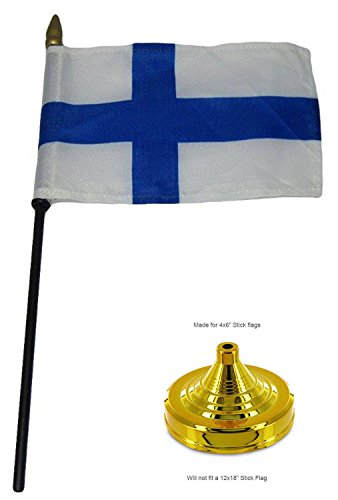 ALBATROS Finland Country 4 inch x 6 inch Flag Desk Set Table Wood Stick Staff with Gold Base for Home and Parades, Official Party, All Weather Indoors Outdoors