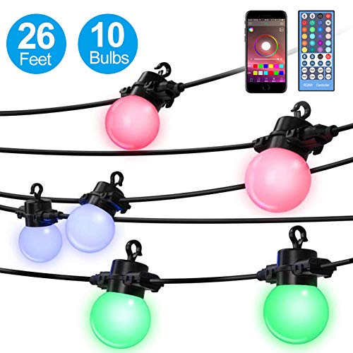 Elrigs LED String Light Color Changing(RGBW), 26 Feet with 10x G45 Bulbs, App Control, IP65 Waterproof for Indoor and Outdoor, Ambiance Light for Patio, Garden, Party, Camping, Wedding
