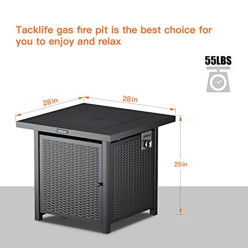 TACKLIFE Propane Fire Pit Table, Outdoor Companion, 28 Inch 50,000 BTU Auto-Ignition Gas Fire Pit Table with Cover, CSA Certification and Strong Striped Steel Surface, as Table in Summer, Stove in Win