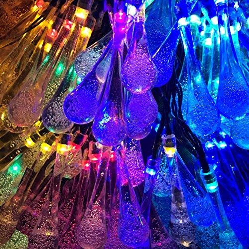 Lemontec Solar String Lights 20 Feet 30 LED Water Drop Solar Fairy Waterproof Lights for Garden, Patio, Yard, Home, Parties, Multi Color