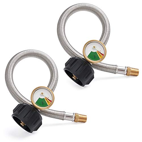 SHINESTAR 12-inch 1/4inch NPT RV Propane Hose with Gauge, Stainless Steel Braided RV Pigtail Hose Connector for Standard Two-Stage Regulator with 1/4inch Male NPT, 2 Pack