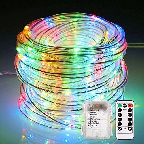 ECOWHO Fairy Lights Battery Operated, 46ft 120 LED Rope Lights Outdoor String Lights, Remote 8 Lighting Modes for Bedroom, Party, Wedding, Trees (Multicolor)