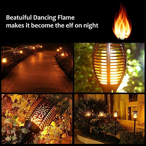 Solar Lights Outdoor Waterproof Dancing Flickering Flames Torches Lights 96 LED Landscape Decoration Lighting Dusk to Dawn Auto On/Off Solar Security Spotlight for Garden, Patio, Yard, Driveway 6 Pack