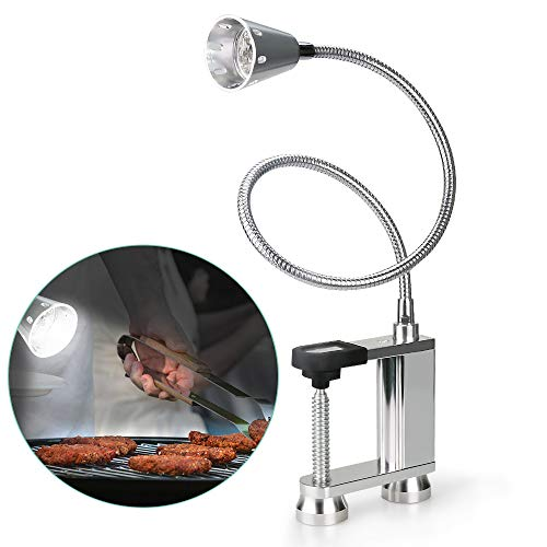 Jhua BBQ Grill Light 12 LED Super Bright, 24 inch Long Flexible Neck Attaches Clip On Outdoor Barbecue Lamp with Magnet, Screw Clamp for Barbecue Grilling, Table or Workbench – Battery Operated