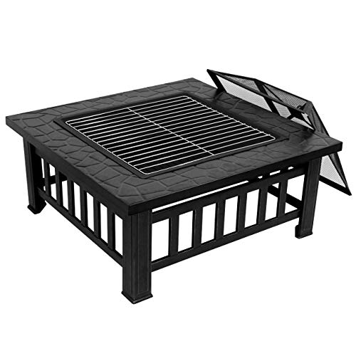 """ZENY Outdoor 32"""" Metal Fire Pit BBQ Square Table Backyard Patio Garden Stove Wood Burning Fireplace with Spark Screen,Poker,Cover,Grill"""