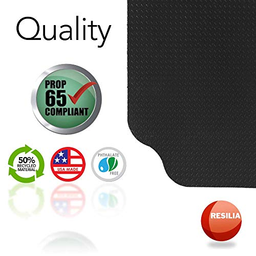 Resilia Large Under Grill Mats – Black, 72 x 48 inches, 12-inch Splatter Protection Lip, for Outdoor Use