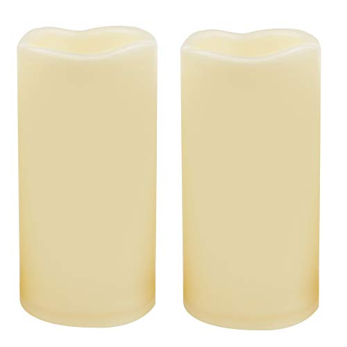 2 Waterproof Outdoor Battery Operated Flameless LED Pillar Candles with Timer Flickering Plastic Resin Electric Decorative Light for Lantern Patio Garden Home Decor Party Wedding Decoration 3×6 Inches