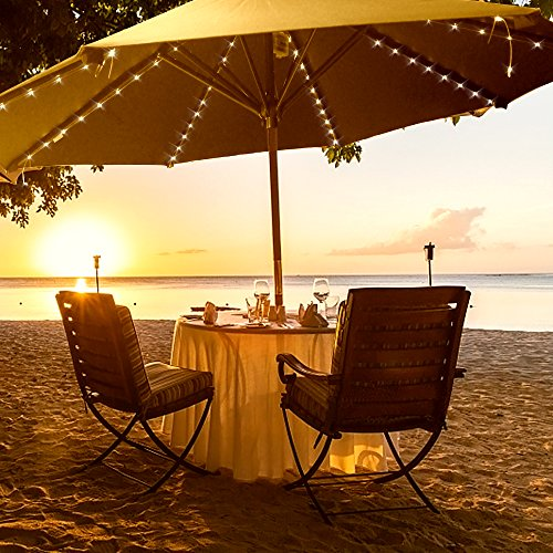 DBFairy Patio Umbrella Lights,Market Umbrella String Lights,Battery Operated,8-Ribs 104 LED,Remote Control,Timer,Dimmable,8 Mode,Easy to Use,Twinkle Fairy Lights for Outdoor Table Umbrella-Warm White