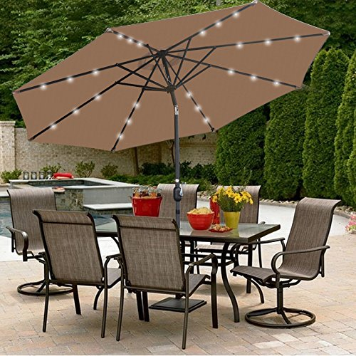 SUPER DEAL 10 ft Patio Umbrella LED Solar Power, with Tilt Adjustment and Crank Lift System, Perfect for Patio, Garden, Backyard, Deck, Poolside, and More (Solar LED – Tan)