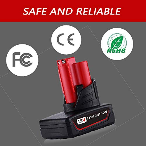 VINIDA 12V 5.0Ah Lithium-ion Battery Replacement for Milwaukee M12 XC 48-11-2411 48-11-2420 48-11-2401 48-11-2402 2455-20 Cordless Power Drill Tools(2 Packs)