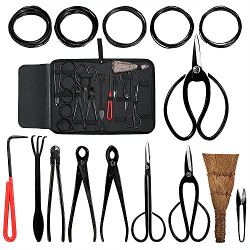 Aonepro Bonsai Tool Kit 10PCS Set Carbon Steel Shear Cutter Scissor Wire Plant Gardening Nylon Case