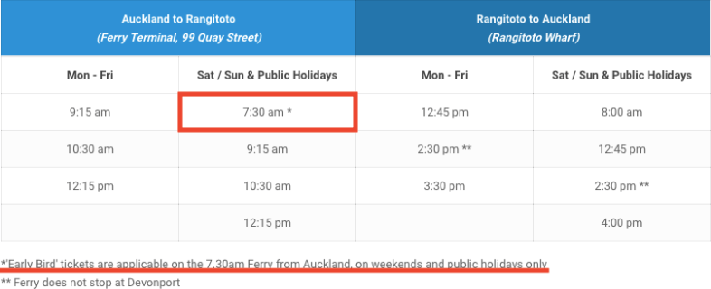 Rangitoto Island 時刻表