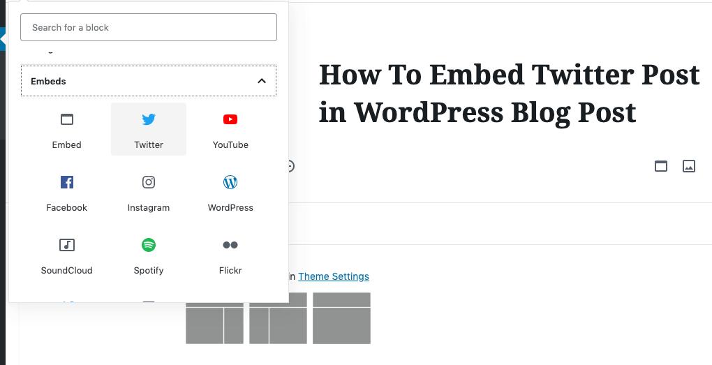WordPress Block Editor Embedding blocks