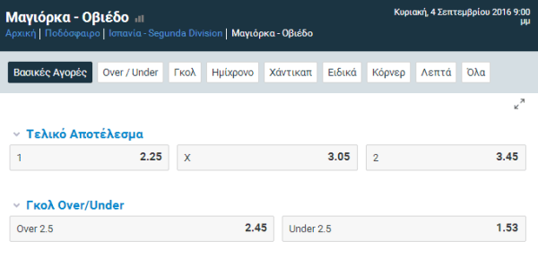 mallorca - οviedo live streaming kai betting sto stoiximan