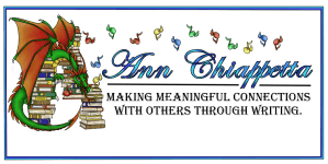 a smiling green dragon with red wings floats amid a few books and winged musical notes. Words printed to the right say Ann Chiappetta Making meaningful connections with others through writing.