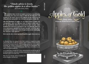 """The cover of """"Apples of Gold"""", showing an illustrated image of golden apples piled high in an ornate silver bowl on a pedestal."""