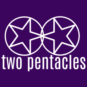 """The Two Pentacles Publishing logo: two encircled five pointed stars side-by-side, with their top most points angled towards each other playfully; the stars sit above the words """"two pentacles"""" in lowercase type. The logo is white with a dark purple background."""