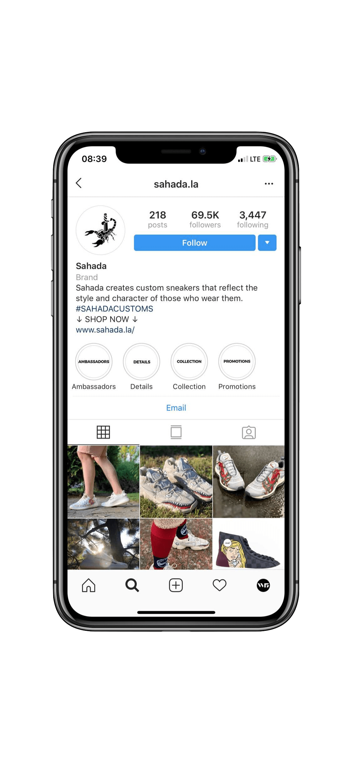 Instagram Marketing in Montreal for Sneaker Customization Brand