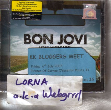 A Nuffnang-sponsored latest Bon Jovi CD, my winning entrance ticket, and my uniquely written name sticker, souvenirs from the KK Bloggers meet on 6 July 2007.