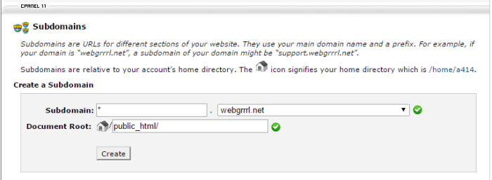 Wildcard DNS subdomain setting in cPanel