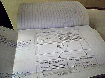 Wireframe Sketch clipped on my notebook