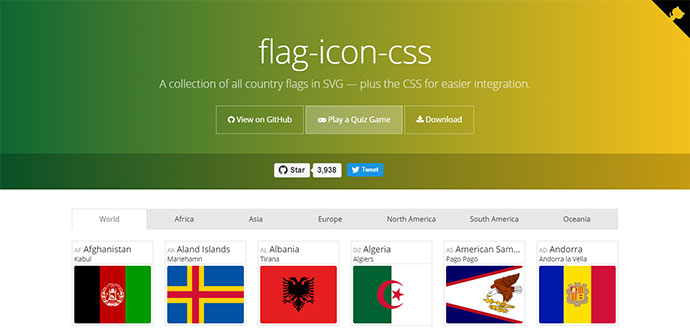 Collection of All Country Flags Icons In SVG and CSS Free