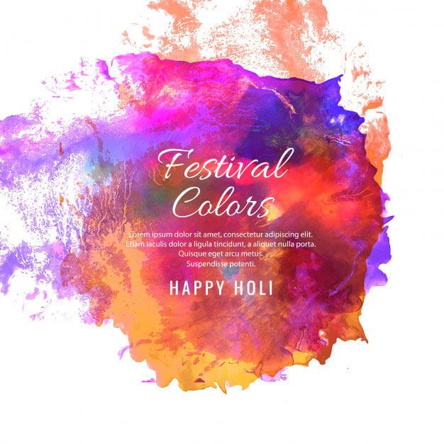 happy holi watercolor