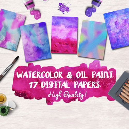 17 Watercolor & Oil Paint Digital Papers Free Download