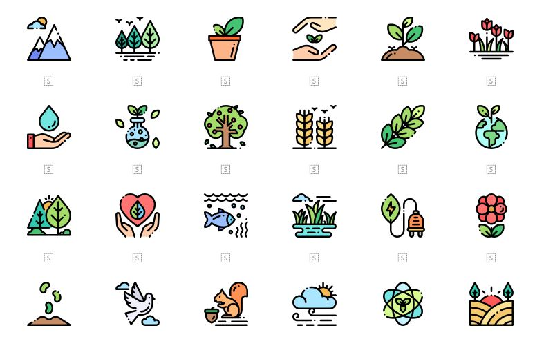 Minimal Colorful Nature Icons